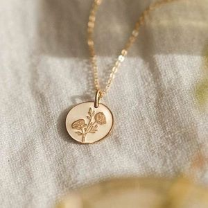 Buttercup Flower Engraved Chic Cute Charm Necklace
